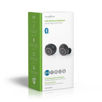 Teljesen Vezeték Nélküli Bluetooth®-fülhallgató | 3 Órányi Lejátszási Idő | Szárnyas Füldugók | Hangvezérlés | Érintésvezérlés | Töltőtok | Fekete