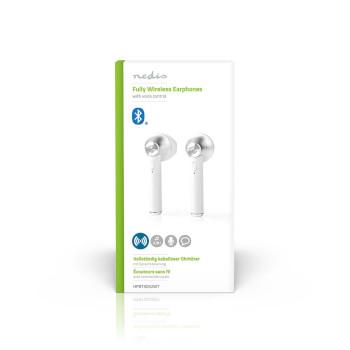 Helt trådlösa Bluetooth®-hörlurar | 3 timmars speltid | Röststyrning | Laddningsfodral | Vita