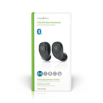 Fully Wireless Bluetooth® Earphones | 3 Hours Playtime | Voice Control | Touch Control | Charging Case | Black