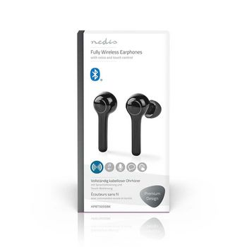 Fully Wireless Bluetooth® Earphones | 6 Hours Playtime | Voice Control | Touch Control | Long Design | Charging Case | Black