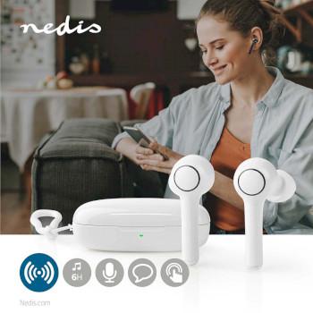 Fullstendig Trådløse Bluetooth®-Øretelefoner | 6 Timers Spilletid | Talestyring | Berøringsbetjening | Lang Utforming | Ladeetui | Hvite