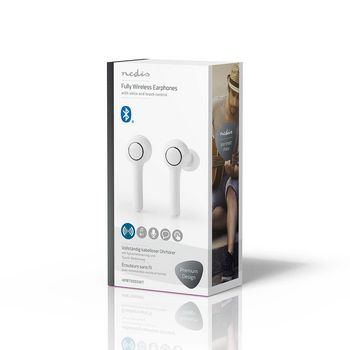 Plně Bezdrátová Bluetooth® Sluchátka | 6 Hodin Přehrávání | Hlasové Ovládání | Dotykové Ovládání | Dlouhé Provedení | Nabíjecí Pouzdro | Bílá