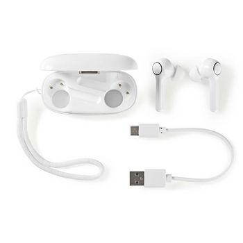 Fuldt trådløse Bluetooth®-øretelefoner | 6 timers spilletid | Stemmestyring | Touchkontrol | Langt Design | Opladeretui | Hvid
