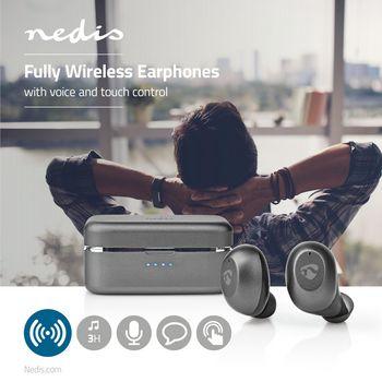 Auriculares Bluetooth® Totalmente Inalámbricos | 3 Horas de Reproducción | Control por Voz | Control Táctil | Estuche de Carga | Grises