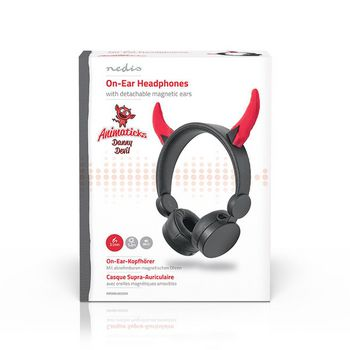 Wired Headphones | 1.2 m Round Cable | On-ear | Detachable Magnetic Ears | Danny Devil | Black