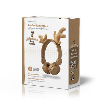 Wired Headphones | 1.2 m Round Cable | On-Ear | Detachable Magnetic Ears | Rudy Reindeer | Brown