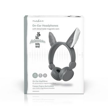 Wired Headphones | 1.2 m Round Cable | On-Ear | Detachable Magnetic Ears | Willy Wolf | Grey