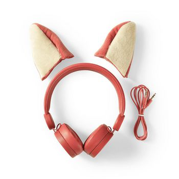 Wired Headphones | 1.2 m Round Cable | On-Ear | Detachable Magnetic Ears | Franky Fox | Orange