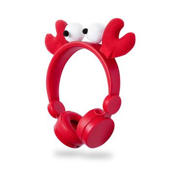Wired Headphones | 1.2 m Round Cable | On-Ear | Detachable Magnetic Ears | Chrissy Crab | Red
