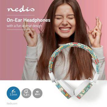 Bedrade Koptelefoon   1,2 m Ronde Kabel   On-Ear   Olifant   Wit