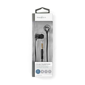 Kopfhörer mit Kabel   1,2 m Flachkabel   In-Ear   Integriertes Mikrofon   Aluminium   Schwarz