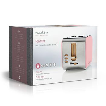 Broodrooster   2 brede sleuven   Soft-touch   Roze
