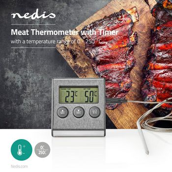 Meat Thermometer | 0 - 250 °C | Digital Display | Timer