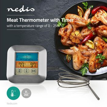Meat Thermometer | 0 - 250 °C | Colour Display | Timer
