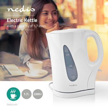 Electric Kettle | 1.7 l | Plastic | White | Boil-dry protection