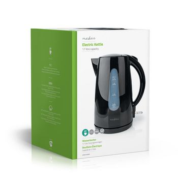 Electric Kettle | 1.7 l | Plastic | Black | Temperature indicator | Rotatable 360 degrees | Concealed heating element | Strix® controller | Boil-dry protection