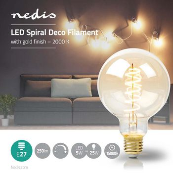 LED-Filament-Lampe E27 | G95 | 5 W | 250 lm | 2000 K | Mit Gold Finish | Retro Style | Anzahl der Lampen in der Verpackung: 1