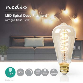 LED Filament Bulb E27 | ST64 | 5 W | 250 lm | 2000 K | With Gold Finish | Retro Style | Number of lamps in packaging: 1