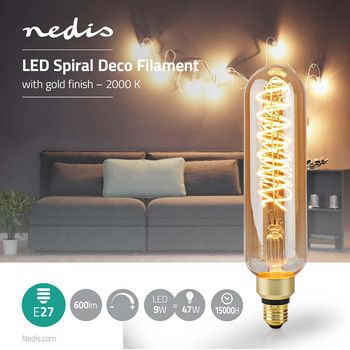 LED Filament Bulb E27 | T65 | 8.5 W | 600 lm | 2000 K | With Gold Finish | Retro Style | Number of lamps in packaging: 1