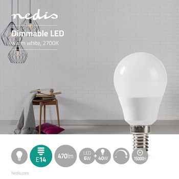 Dimmable LED Lamp E14 | G45 | 6 W | 470 lm