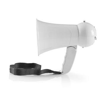 Megafoon | Maximaal bereik: 100 m | Volumebediening: Maximaal 100 dB | Ingebouwde Microfoon | Ingebouwde sirene | Wit