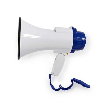 Megafoon | Maximaal bereik: 250 m | Volumebediening: Maximaal 115 dB | Ingebouwde Microfoon | Ingebouwde sirene | Opnamefunctie | Wit/Blauw