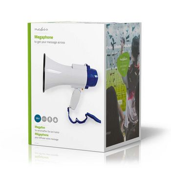 Megaphone | 10 W | 250 m Range | Built-in Microphone | White/Blue