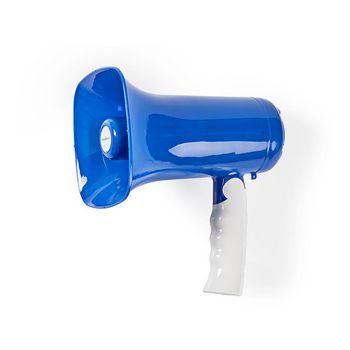 Megafoon | Maximaal bereik: 300 m | Volumebediening: Maximaal 115 dB | Ingebouwde Microfoon | Ingebouwde sirene | Bluetooth® | Opnamefunctie | Blauw/Wit