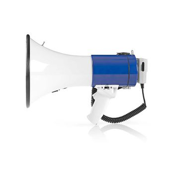 Megafoon | Maximaal bereik: 1500 m | Volumebediening: Maximaal 135 dB | Afneembare Microfoon | Ingebouwde sirene | Schouder riem | Wit/Blauw