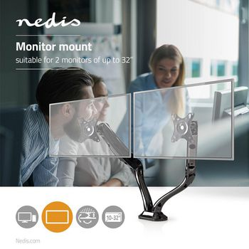 Desk Monitor Mount | Double Monitor Arm | Full Motion | 10-32 ""