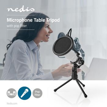 Microphone Table Tripod | Pop Filter | Black