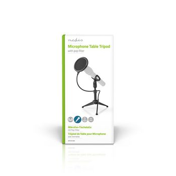 Microphone Table Tripod | Adjustable Height | Pop Filter | 2 Holders Included | Black
