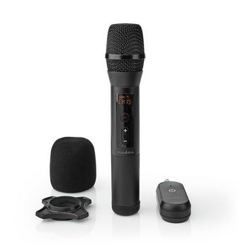 Wireless Microphone Set | 20 Channels | 1 Microphone | Cardioid | 70 Hz - 13 kHz | 1000 Ohm | -95 dB | Volume control | Black