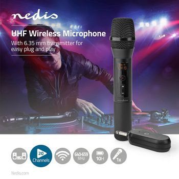 Set microfono wireless | 1 microfono | Cardioide | 70 Hz - 13 kHz | 1000 Ohm | -95 dB | Controllo del Volume | Nero