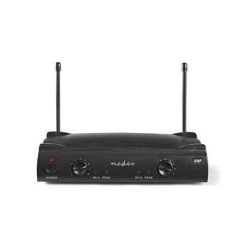Trådløs mikrofon Set | 2 Mikrofoner | Kardioid | 40 Hz - 15 kHz | 600 Ohm | -93 dB | Volumkontroll | Sort/Grå