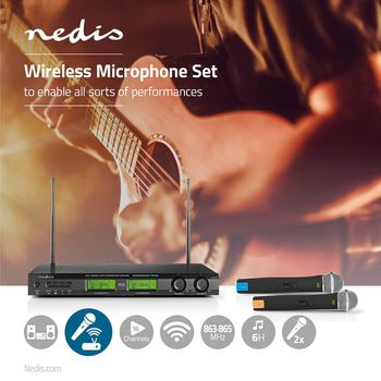 Wireless Microphone Set | 16 Channels | 2 Microphones | Cardioid | 40 Hz - 15 kHz | 600 Ohm | -93 dB | Volume control | Black/Grey