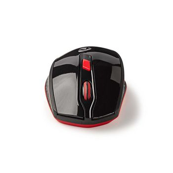 Wireless Mouse with Nano Dongle   Six Button   Black/Red