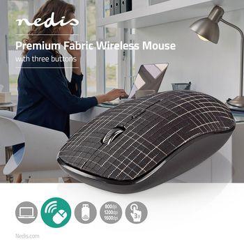 Trådløs mus | 1600 DPI | 3 knapper | Sort