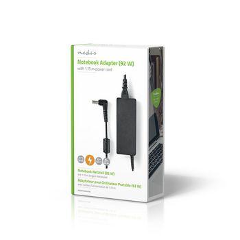 Adapter for Bærbar PC 92 W | 6,5 x 4,4 mm midtpinne | 19,5 V / 4,7 A | Brukes til SONY | Strømledning Medfølger
