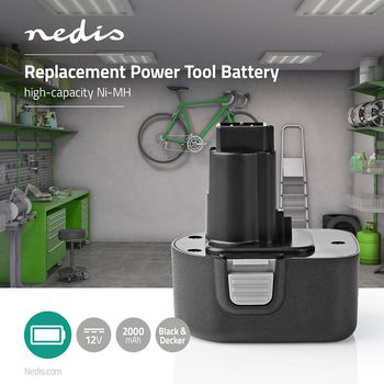 Power Tool Battery | Ni-MH | 12 V | 2 Ah | 24 Wh | Replacement for Black & Decker