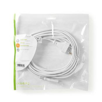 Power Cable | Euro Plug - IEC-320-C7 | 5.0 m | White