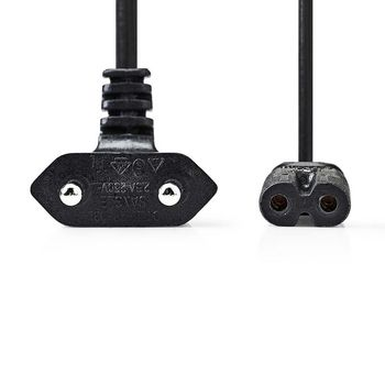 Power Cable | Euro Plug Angled - IEC-320-C7 | 2.0 m | Black