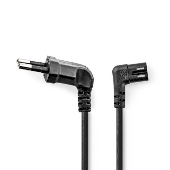 Power Cable | Euro Plug Angled - IEC-320-C7 Left/Right | 2.0 m | Black