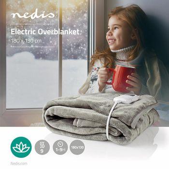 Elektrisk overtæppe | 180 x 130 cm | 9 varmeindstillinger | Indikator| Overophedningsbeskyttelse