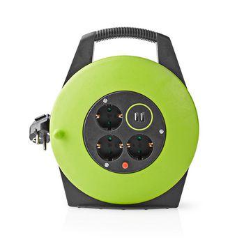 Kabelhaspel | 10,0 m | 3x 1,5 mm² | Thermische Beveiliging | Schuko & USB