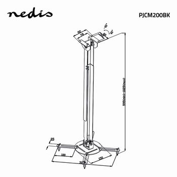 Projector Ceiling Mount | 360° Rotatable | Max 10 kg | 550-1000 mm Ceiling Distance | Black
