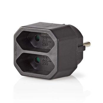 Power Socket Splitter | 2-Way | Euro Socket | Black