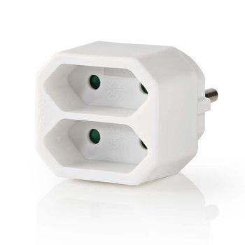 Power Socket Splitter | 2-Way | Euro Socket | White