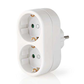 Stopcontact Splitter | Beschermend contact | 2-weg | Schuko-contactdoos | Wit