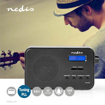 Radio DAB+ | 3,6 W | FM | Función de Reloj y Alarma | Negra